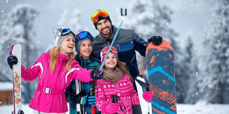 family snowboarding vacation