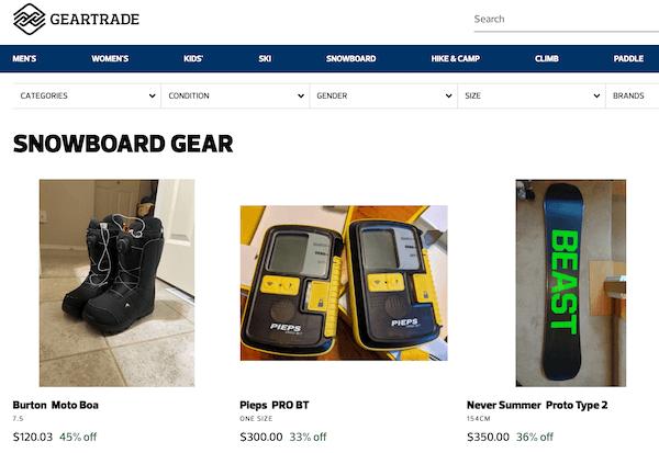 gear trade used snowboard